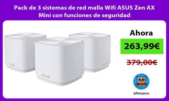 Pack de 3 sistemas de red malla Wifi ASUS Zen AX Mini con funciones de seguridad