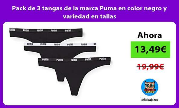 Pack de 3 tangas de la marca Puma en color negro y variedad en tallas