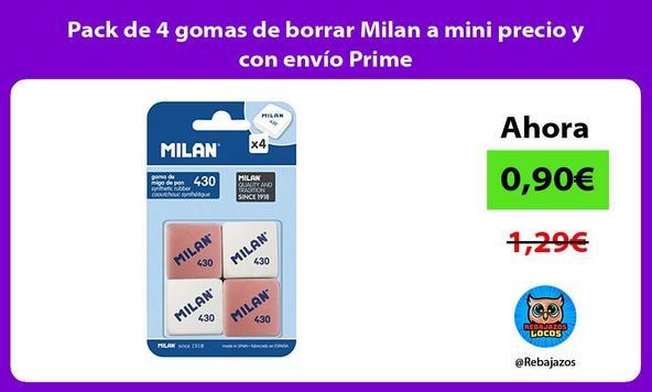 Pack de 4 gomas de borrar Milan a mini precio y con envío Prime