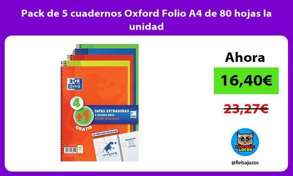 Pack de 5 cuadernos Oxford Folio A4 de 80 hojas la unidad