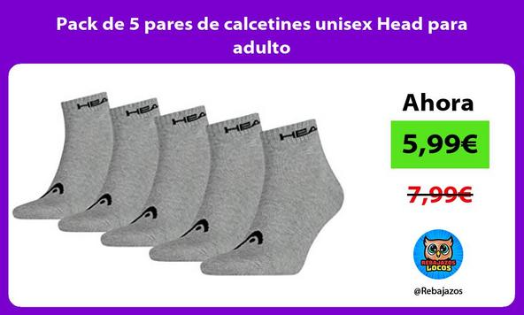 Pack de 5 pares de calcetines unisex Head para adulto