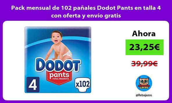 Pack mensual de 102 pañales Dodot Pants en talla 4 con oferta y envío gratis