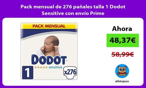 Pack mensual de 276 pañales talla 1 Dodot Sensitive con envío Prime