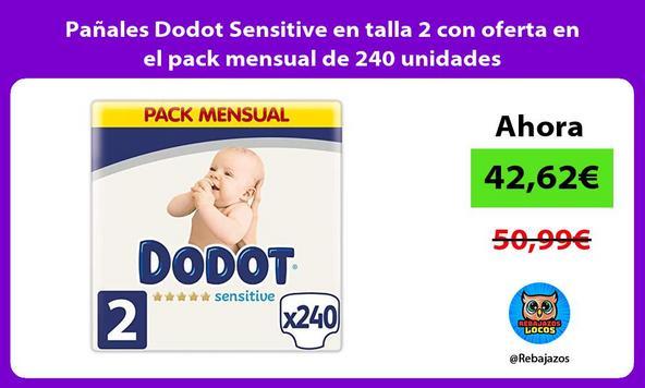 Pañales Dodot Sensitive en talla 2 con oferta en el pack mensual de 240 unidades