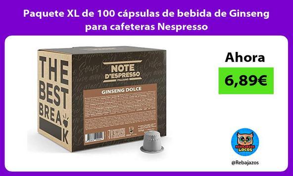 Paquete XL de 100 cápsulas de bebida de Ginseng para cafeteras Nespresso