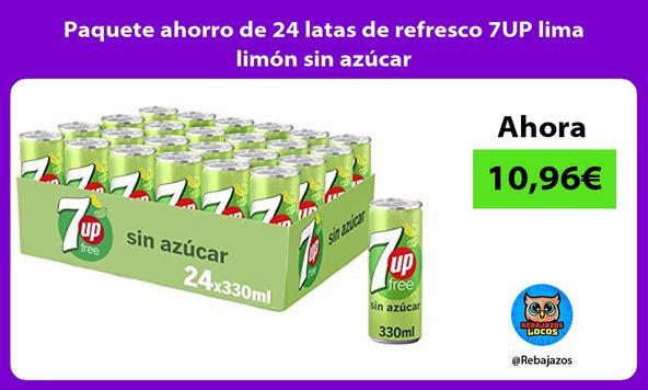 Paquete ahorro de 24 latas de refresco 7UP lima limón sin azúcar