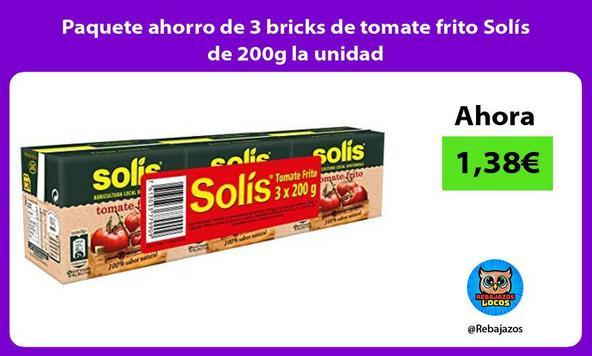 Paquete ahorro de 3 bricks de tomate frito Solís de 200g la unidad