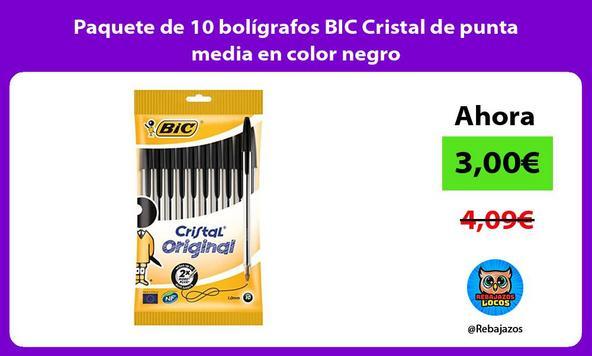 Paquete de 10 bolígrafos BIC Cristal de punta media en color negro