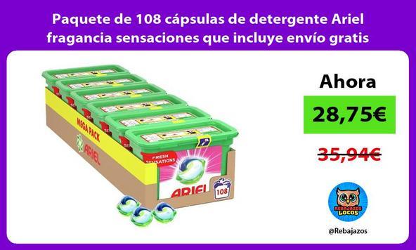 Paquete de 108 cápsulas de detergente Ariel fragancia sensaciones que incluye envío gratis Prime