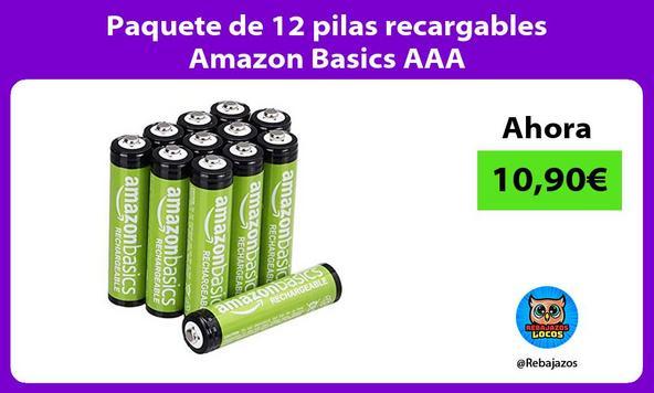 Paquete de 12 pilas recargables Amazon Basics AAA