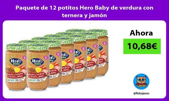 Paquete de 12 potitos Hero Baby de verdura con ternera y jamón