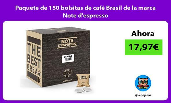 Paquete de 150 bolsitas de café Brasil de la marca Note d'espresso