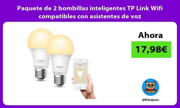 Paquete de 2 bombillas inteligentes TP Link Wifi compatibles con asistentes de voz