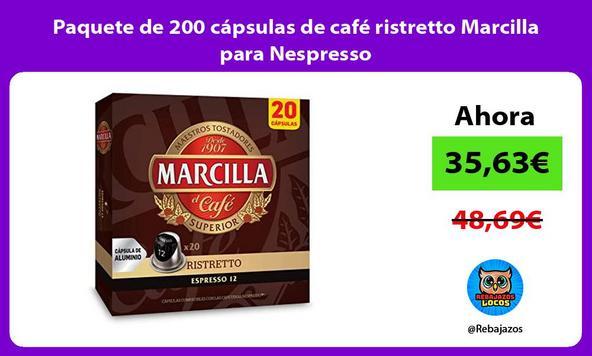 Paquete de 200 cápsulas de café ristretto Marcilla para Nespresso