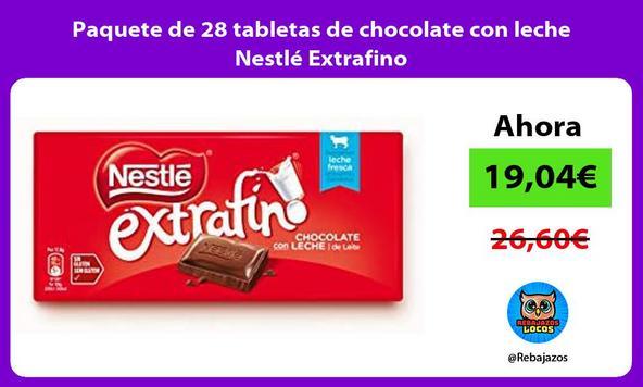 Paquete de 28 tabletas de chocolate con leche Nestlé Extrafino