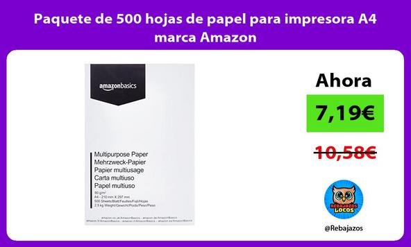 Paquete de 500 hojas de papel para impresora A4 marca Amazon