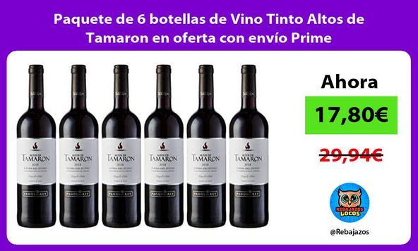 Paquete de 6 botellas de Vino Tinto Altos de Tamaron en oferta con envío Prime