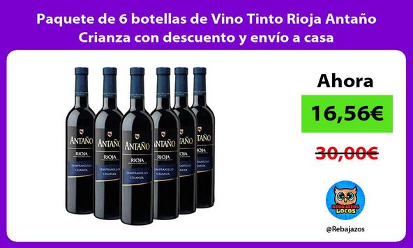Paquete de 6 botellas de Vino Tinto Rioja Antaño Crianza con descuento y envío a casa