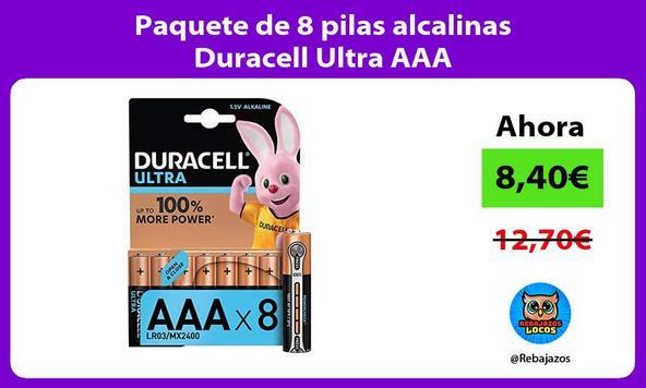 Paquete de 8 pilas alcalinas Duracell Ultra AAA