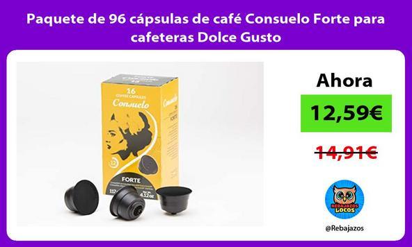 Paquete de 96 cápsulas de café Consuelo Forte para cafeteras Dolce Gusto