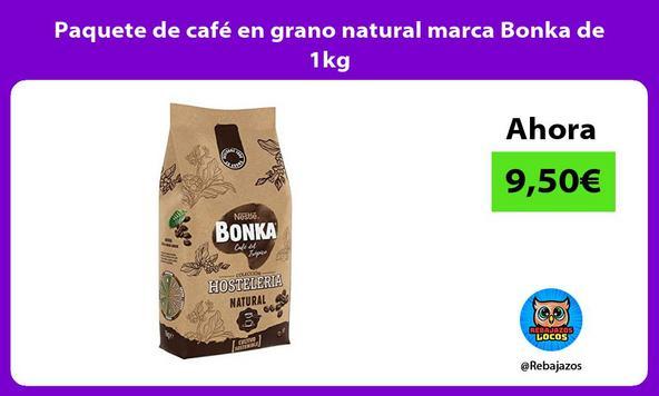 Paquete de café en grano natural marca Bonka de 1kg