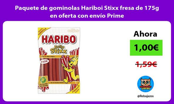 Paquete de gominolas Hariboi Stixx fresa de 175g en oferta con envío Prime