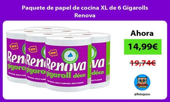 Paquete de papel de cocina XL de 6 Gigarolls Renova