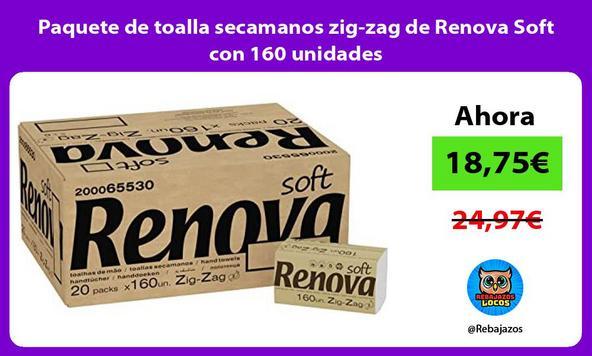 Paquete de toalla secamanos zig-zag de Renova Soft con 160 unidades