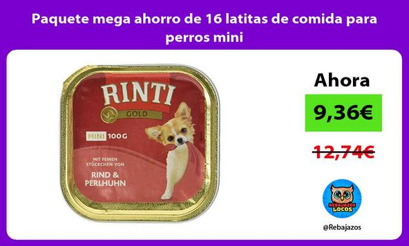 Paquete mega ahorro de 16 latitas de comida para perros mini