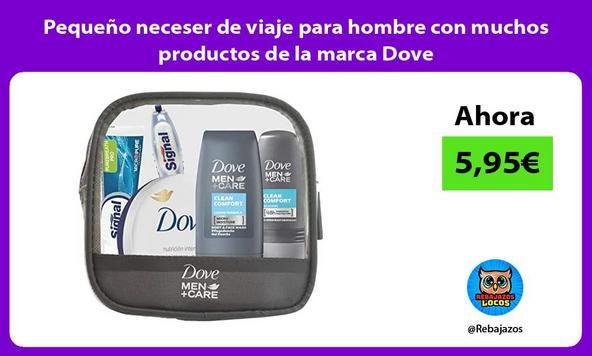Pequeño neceser de viaje para hombre con muchos productos de la marca Dove