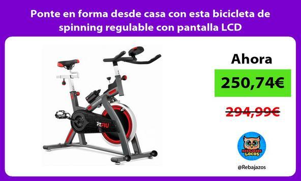 Ponte en forma desde casa con esta bicicleta de spinning regulable con pantalla LCD