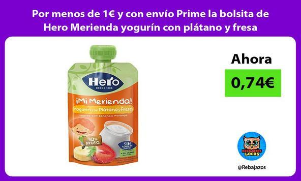 Por menos de 1€ y con envío Prime la bolsita de Hero Merienda yogurín con plátano y fresa
