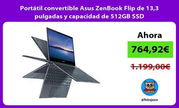 Portátil convertible Asus ZenBook Flip de 13,3 pulgadas y capacidad de 512GB SSD