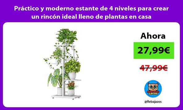 Práctico y moderno estante de 4 niveles para crear un rincón ideal lleno de plantas en casa