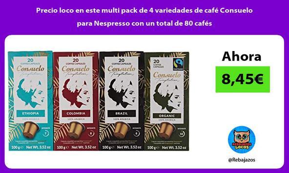 Precio loco en este multi pack de 4 variedades de café Consuelo para Nespresso con un total de 80 cafés