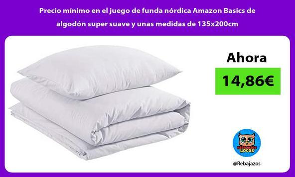 Precio mínimo en el juego de funda nórdica Amazon Basics de algodón super suave y unas medidas de 135x200cm