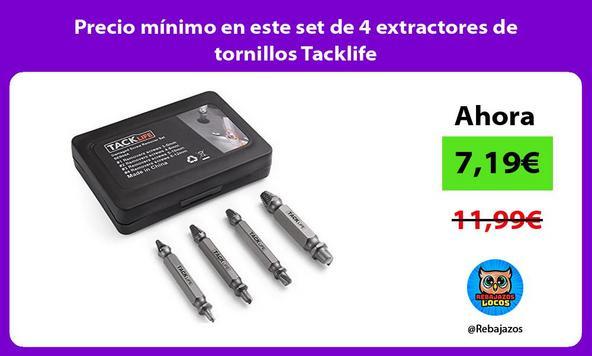 Precio mínimo en este set de 4 extractores de tornillos Tacklife