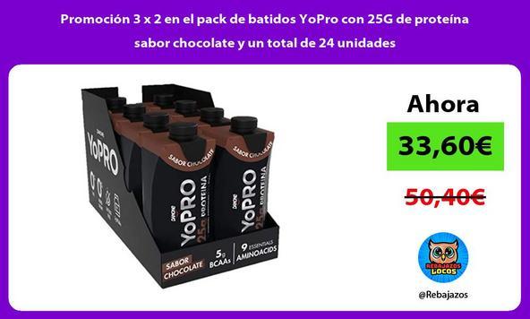 Promoción 3 x 2 en el pack de batidos YoPro con 25G de proteína sabor chocolate y un total de 24 unidades