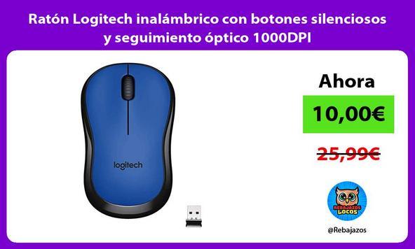 Ratón Logitech inalámbrico con botones silenciosos y seguimiento óptico 1000DPI