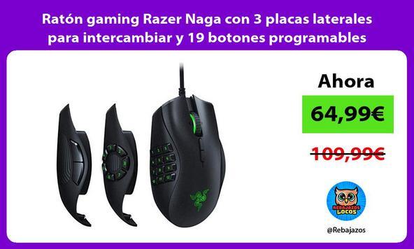 Ratón gaming Razer Naga con 3 placas laterales para intercambiar y 19 botones programables