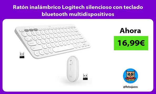 Ratón inalámbrico Logitech silencioso con teclado bluetooth multidispositivos