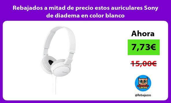 Rebajados a mitad de precio estos auriculares Sony de diadema en color blanco