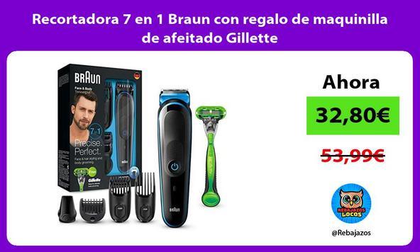 Recortadora 7 en 1 Braun con regalo de maquinilla de afeitado Gillette
