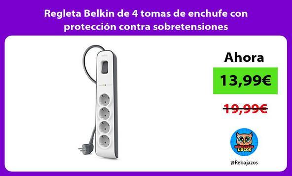 Regleta Belkin de 4 tomas de enchufe con protección contra sobretensiones