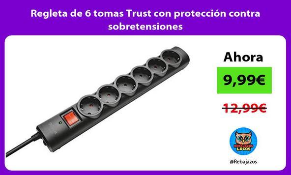 Regleta de 6 tomas Trust con protección contra sobretensiones