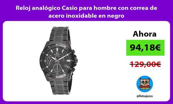 Reloj analógico Casio para hombre con correa de acero inoxidable en negro