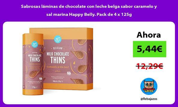 Sabrosas láminas de chocolate con leche belga sabor caramelo y sal marina Happy Belly. Pack de 4 x 125g