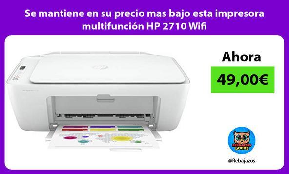 Se mantiene en su precio mas bajo esta impresora multifunción HP 2710 Wifi