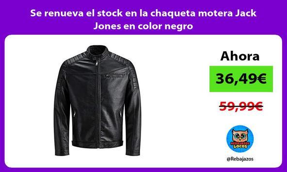 Se renueva el stock en la chaqueta motera Jack Jones en color negro