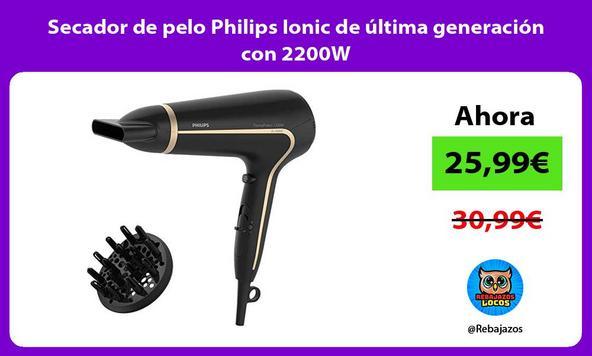 Secador de pelo Philips Ionic de última generación con 2200W